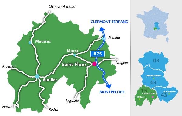 Carte de situation de saint-flour